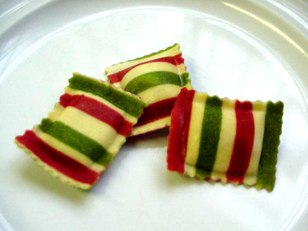 red, white and green striped ravioli